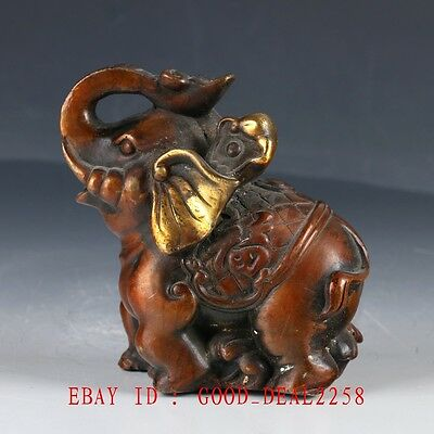 Old Chinese Copper Gilt Hand Made Carved Elephant Statue HT101