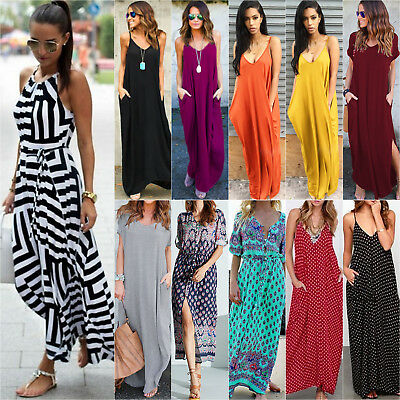 Women Boho Floral Maxi Long Dress Summer Evening Party Beach Sundress Plus Sizes