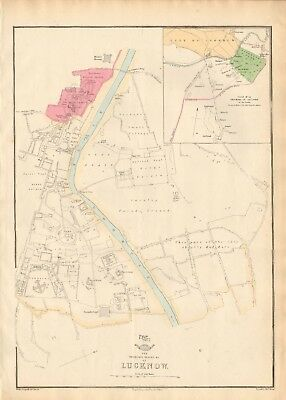 1863  LARGE ANTIQUE MAP - DISPATCH ATLAS-CITY PLAN- RESIDENCY,PALACES &c LUCKNOW