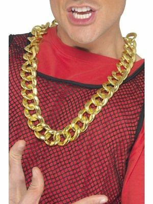 Chunky Fake Adult Gold Rapper Necklace Fancy Dress Costume Party Accessory