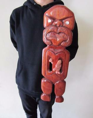 HUGE Vintage NZ TRIBAL Hand Carved WOODEN TIKI Totem Sculpture Home Decor
