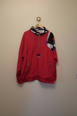 Vintage 80s/90s red and black shell suit jacket XL