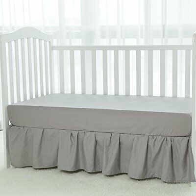 TILLYOU Baby Bed Percale Ruffled Crib Skirt 100% Natural Cotton Nursery Crib ...