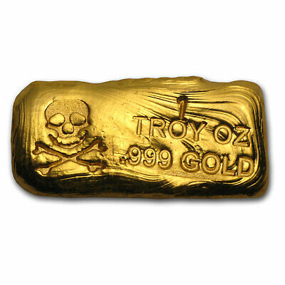 1 oz Gold Bar - Skull & Bones (PG&G) - SKU #78563
