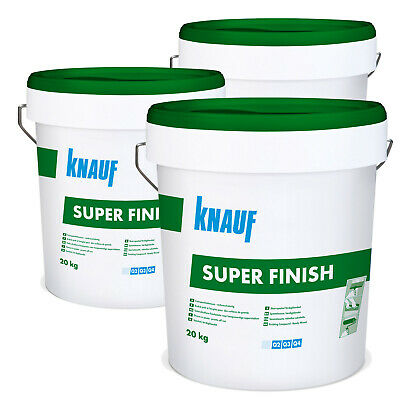 3 Eimer KNAUF Sheetrock Super Finish 20kg Fertigspachtel Fugenspachtel Bau