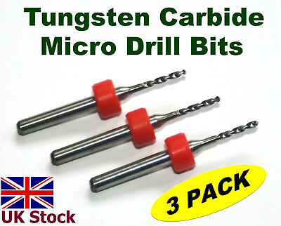 Tungsten Carbide Micro Drill Bits    pack of three   for PCB  Metals Stone  - UK