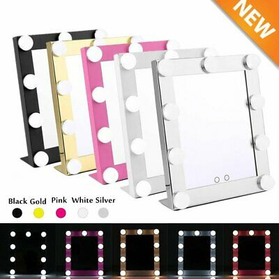 LED Touch Vanity Lighted Hollywood Makeup Mirror with Lights Dimmer Stage Beauty