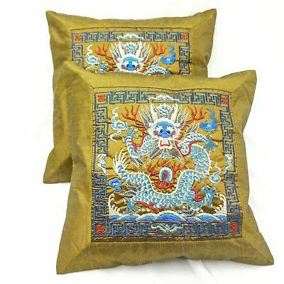 """Pair of Red Chinese Oriental Silk Cushion Covers 16""""x16"""""""