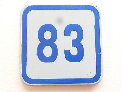 1970`s Vintage BLUE & WHITE PORCELAIN ENAMEL TIN SIGN HOUSE  DOOR NUMBER 83
