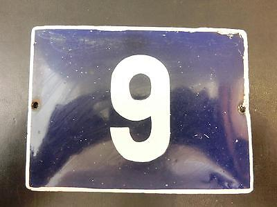 1950's Vintage Blue & White Porcelain Enamel Tin SIGN House/Door Number 6 or 9