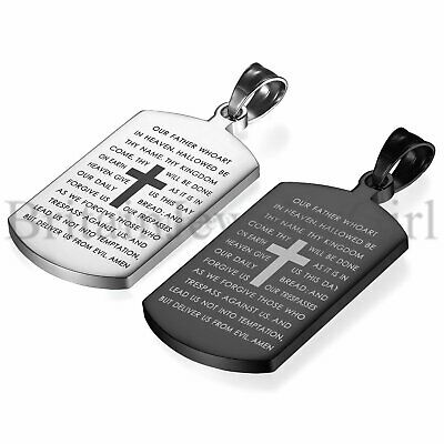 Men's Biker Stainless Steel Cross English Lords Prayer Dog Tag Pendant Necklace