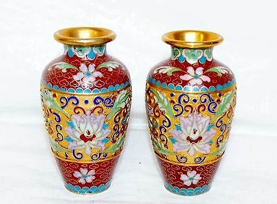 Pair of Antique Chinese Gold Gild Brass Cloisonne Enamel Vases Vase Miniature 4""