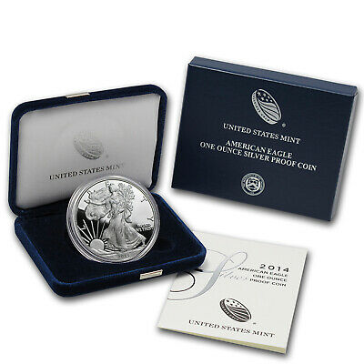 2014-W 1 oz Proof Silver American Eagle (w/Box & COA) - SKU #79371