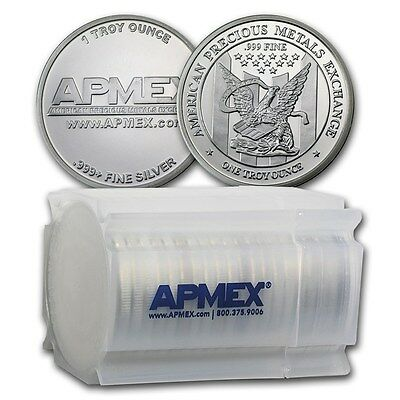 1 oz APMEX Silver Rounds .999 Fine (Lot, Tube, Roll of 20)