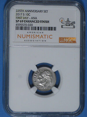 2017-S Enhanced Finish Roosevelt Dime NGC SP 69 ANA First Day Label