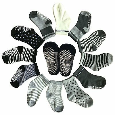 Socks Kids Baby 6 Pairs Toddler Assorted Non Skid Ankle Cotton Anti-Slip Crew