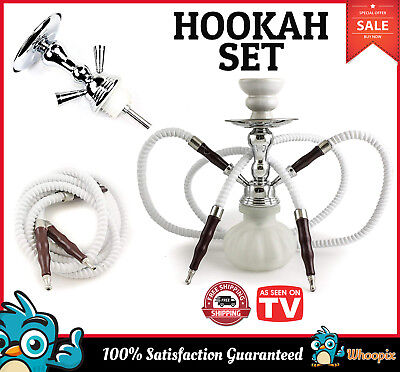Hookah 2 Hose Glass Water Pipe Vase Tobacco Shisha Nargile Smoking Bong Set