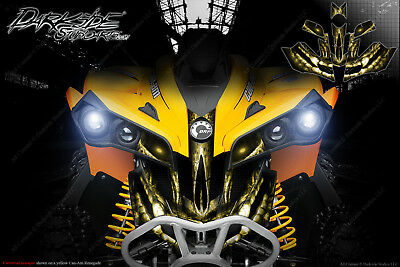Can-Am Renegade Front Bumper Skull Graphics Decal Wrap Kit 2012-2018 Beige/ylw