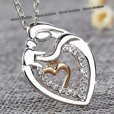 CHRISTMAS GIFT Rose Gold Mother's Heart Crystal Necklace Mum Mom Aunt Sister Nan