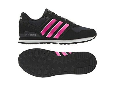 separation shoes c5a38 02922 shop adidas neo 10k womens black pink leather textile running trainers shoes  uk 8 e76d2 68f0e