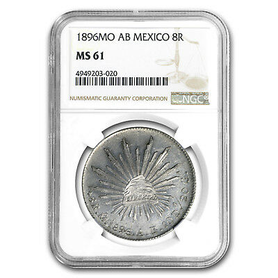 1896 Mo-AB Mexico Silver 8 Reales MS-61 NGC