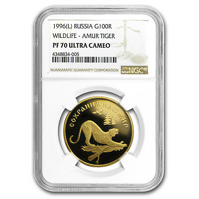 1996 Russia 1/2 oz Gold 100 Roubles Amur Tiger PF-70 NGC
