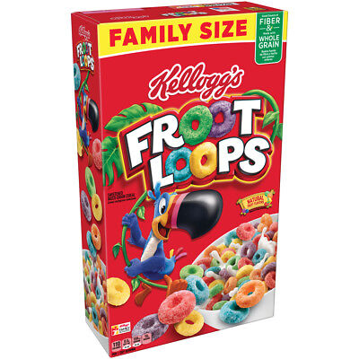 New Kelloggs Family Size Froot Loops Cereal 19.4 Oz Box Free World Wide Shipping