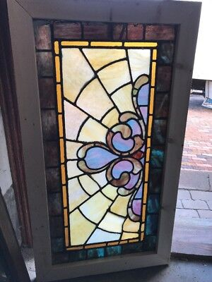 Sg 1630 Antique Stainglass Transom Window 22 1/2 X 40 1/2