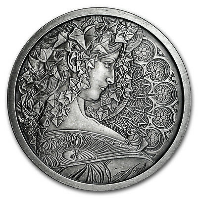 5 oz Silver Antique Round Mucha Collection (Ivy)