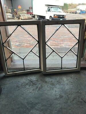 Sg 1631 Match. Antique All Beveled Glass Windows 16 X 20.75