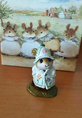 """Wee Forest Folk, M-180, """"April Showers"""" White with Flowers Mint"""