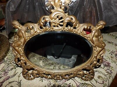 Antique art nouveau mirror with nymphs