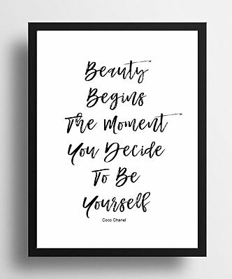 Inspirational Quote COCO CHANEL BEAUTY Quality Poster Print  gift wall FRAMED