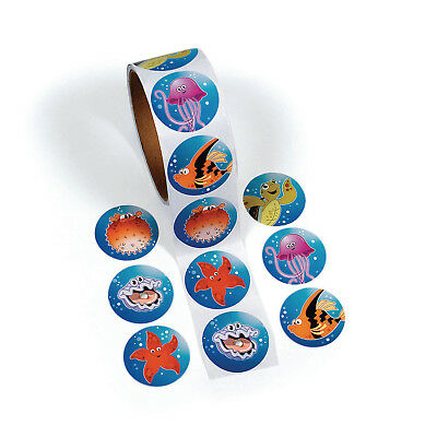 300 LUAU Under The Ocean STICKERS TROPICAL fish sea life BEACH  party favors