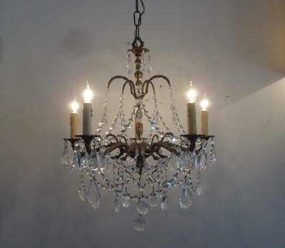 ANTIQUE VTG BRASS w FRENCH & BOHEMIAN CZECH CRYSTALS PETITE CHANDELIER LAMP