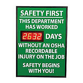 NMC DSB4 Digital Safety Scoreboard Sign - Safety First, This Department, OSHA,