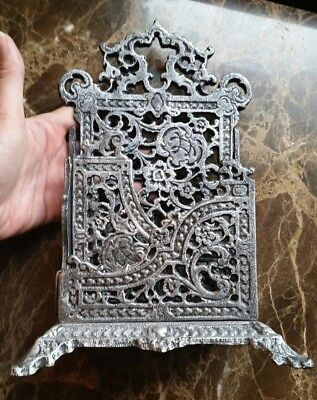 Vtg Antique Ornate Gothic Silver/gray Cast Iron Mail Holder Paperweight Gift