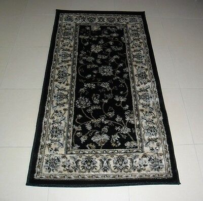 New Black Persian Design Heatset Hallway Floor Runner Rug 80X150Cm