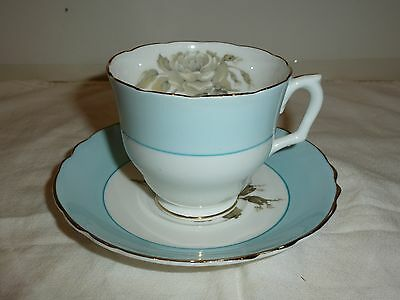 Crown Staffordshire Cup/Saucer, Blue Band, Gray Rose