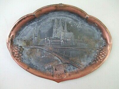 German Wall Hanging Copper/Tin Plate - Koln (Cologne) Bridge Ges Gesch - c 1900