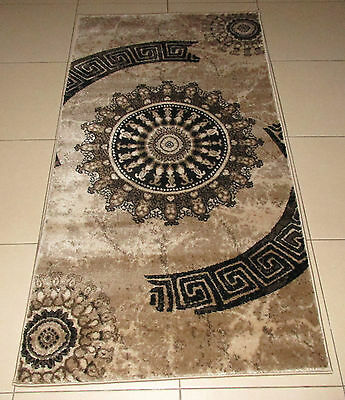 New Beige/brown Modern Heatset Floor Hallway Runner Rug 80X150Cm