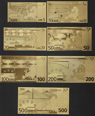 7pcs 24k Gold Foil Banknote Euro Bill Collections €500/200/100/50/20/10/5 Notes