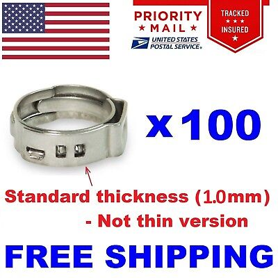 "(100) 1"" PEX Stainless Steel Clamps Cinch Pinch Rings ASTM NSF Certified SSC-2"
