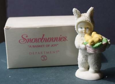 """Dept 56 Snowbunnies """"A Basket Full of Joy"""" Easter Bunny Yellow Chicks in Basket"""