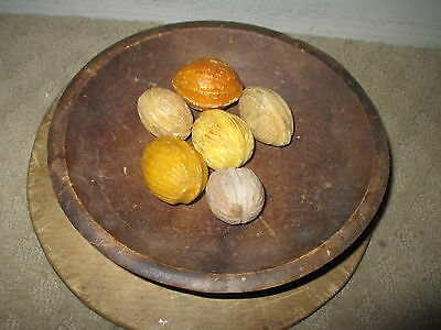 Early Original Antique Italian Alabaster Bowl of Six 6 Stone Walnuts Nuts NM+