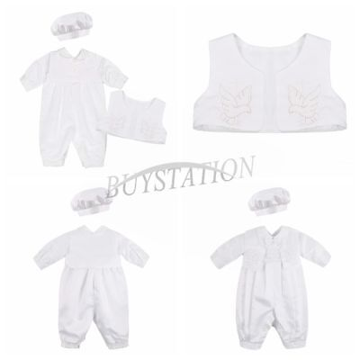 Newborn Baby Boys Satin Baptism Christening Romper Outfits Vest Hat Party Sets