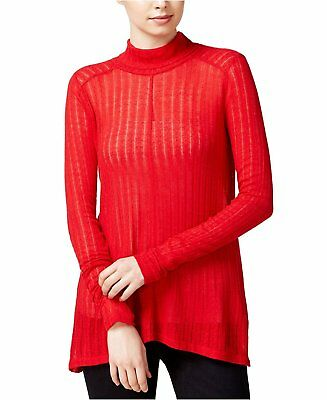 492db7bcdd Lucky Brand Womens High Low Knit Turtleneck Ribbed Sweater Top Red M  49  A010