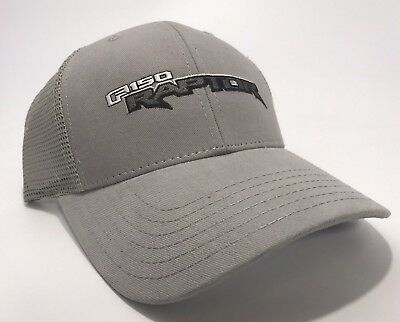 abf4f99d88896 Ford SVT Raptor Trucker Hat Grey Embroidered Emblem Logo Grill Mesh Truck  F-150