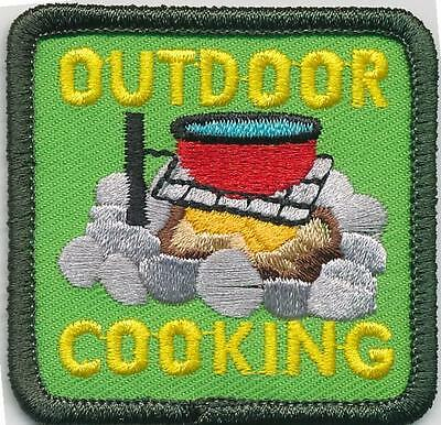 Girl Boy Cub OUTDOOR COOKING fire Fun Patches Crest Badges SCOUT GUIDE campfire