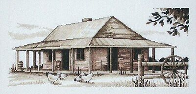 Sepia Settlers Cottage - Counted Cross Stitch Chart from Country Threads